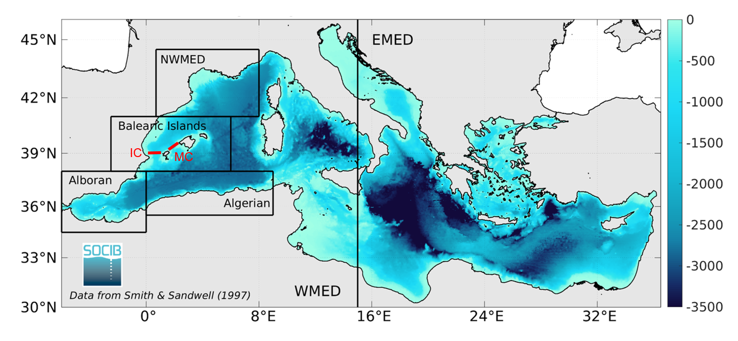 Image: Bathymetry (in m) in the Mediterranean Sea with the sub-regions (black boxes) & sections (red lines) used for the indicators: eastern & western Mediterranean (EMED & WMED), north-western Mediterranean (NWMED), Balearic Islands region (including the Cabrera Island National Park), Algerian sub-basin, Alboran Sea, Ibiza & Mallorca Channels (IC & MC).