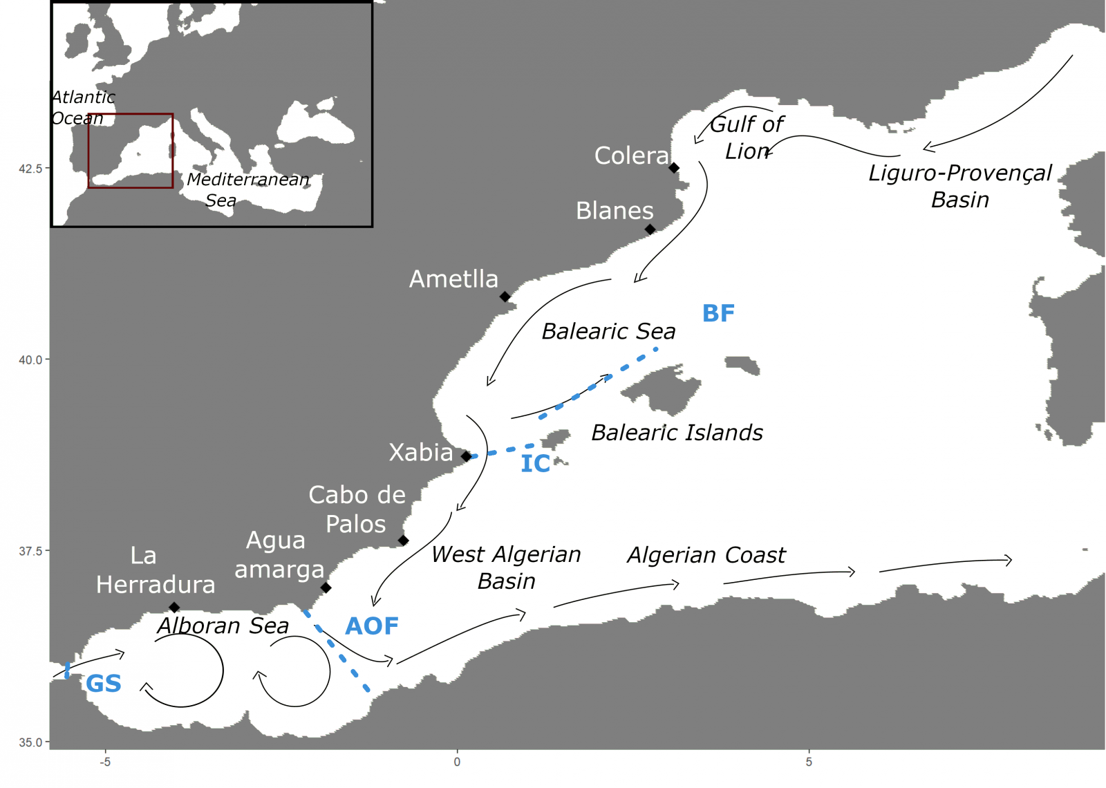 Map of the sampling locations and main schematic oceanographic currents in the Western Mediterranean Sea
