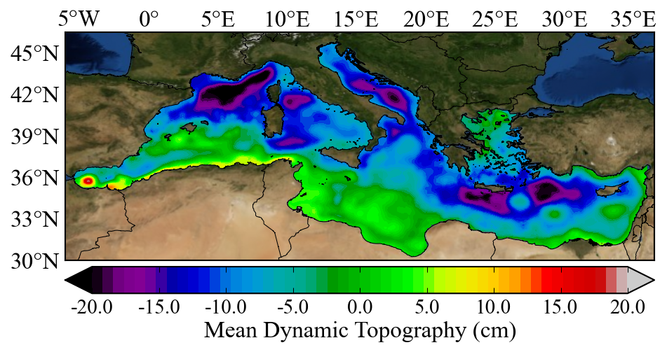 Mediterranean Sea Mean Dynamic Topography